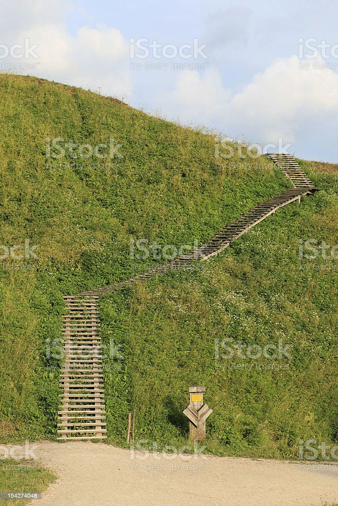 stairs on grass stock photo