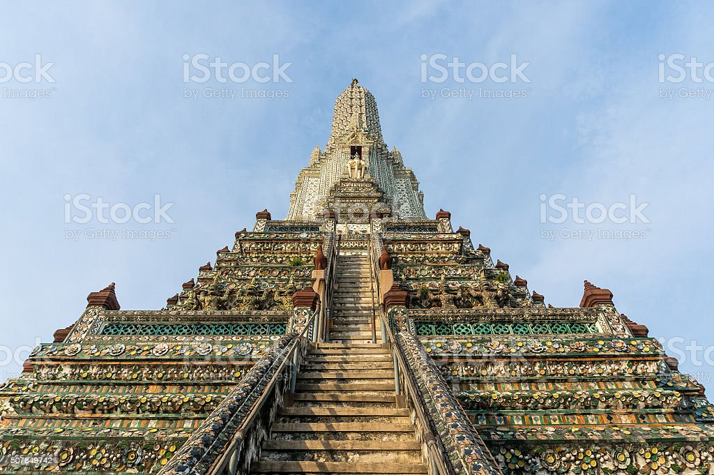 Stairs on main prang of Wat Arun temple stock photo