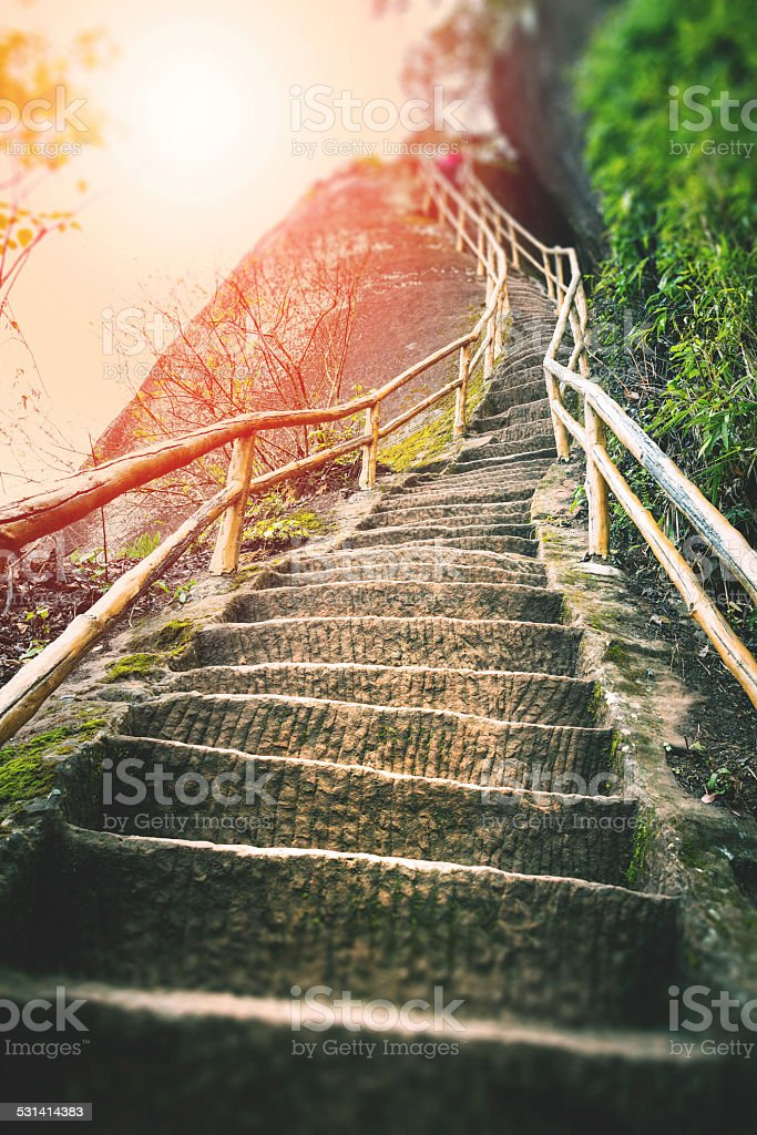 Stairs on mountain stock photo