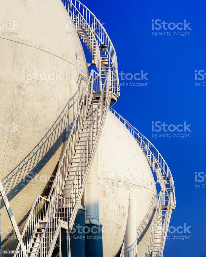 stairs on storage tanks stock photo
