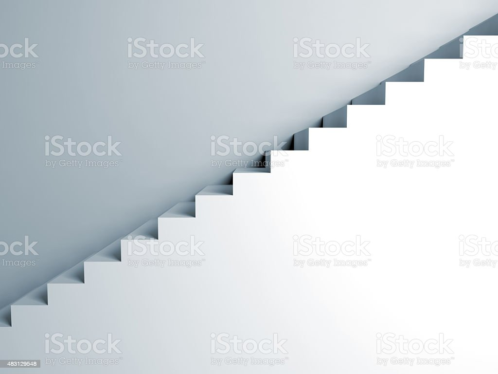 Stairs on the wall, abstract architecture, 3d vector art illustration