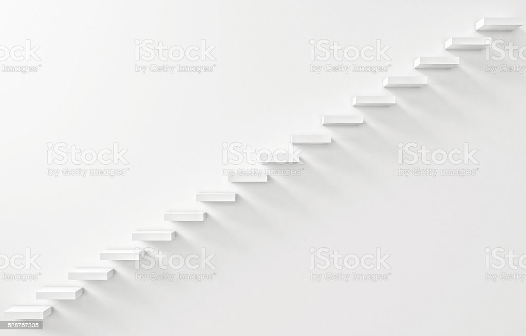 Stairs Rendered on the White Wall stock photo