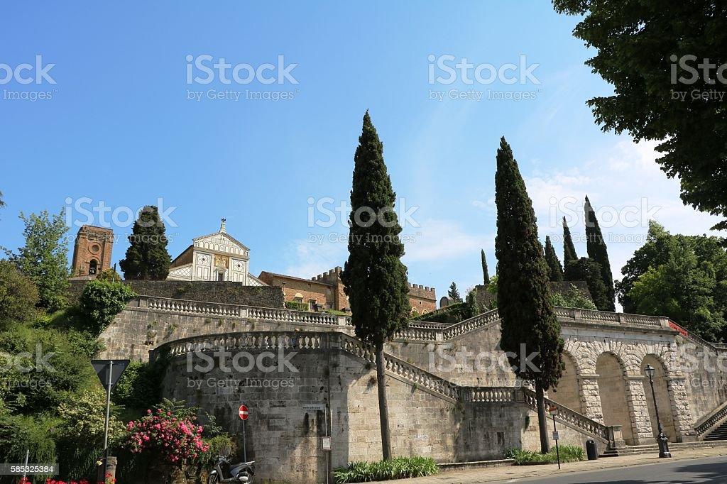 Stairs to Basilica San Miniato al Monte, Florence Italy stock photo