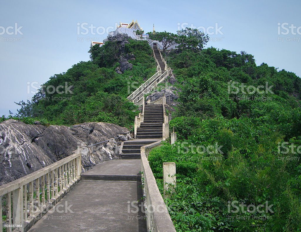 stairs to Buddhist temple stock photo