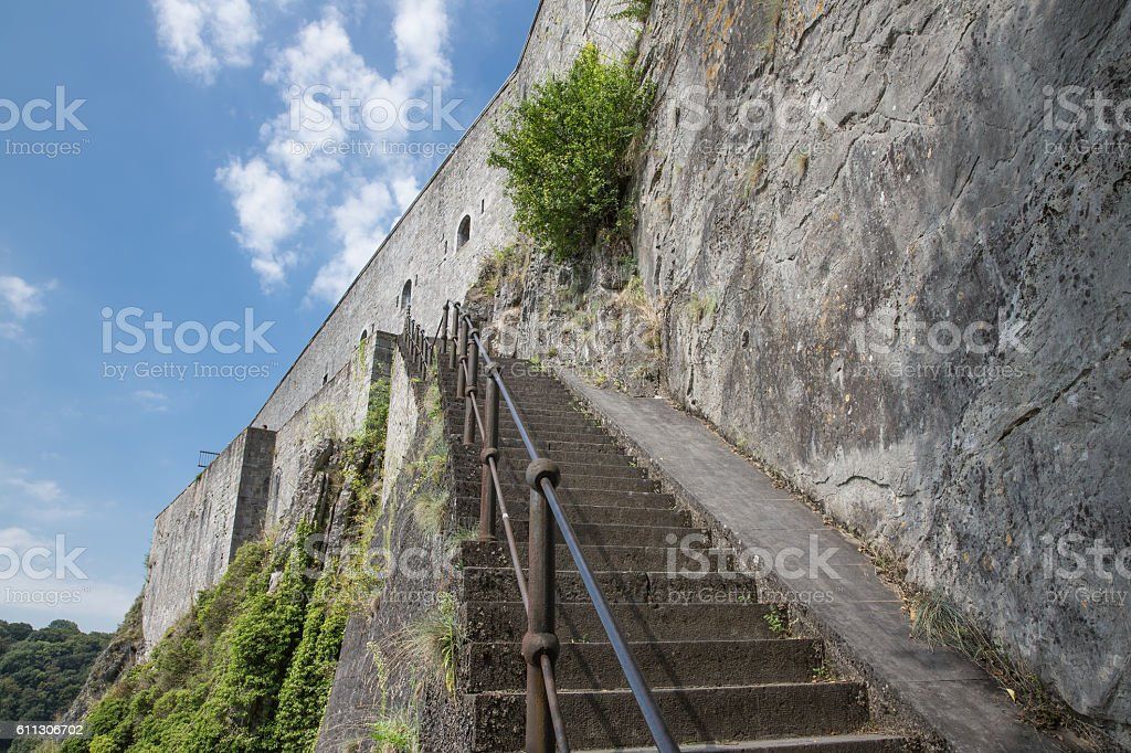 Stairs to citadel of Dinant in Belgium stock photo