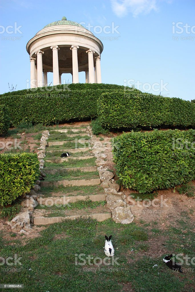 Stairs to Monopteros in public Park Querini Vicenza, Veneto Italy stock photo