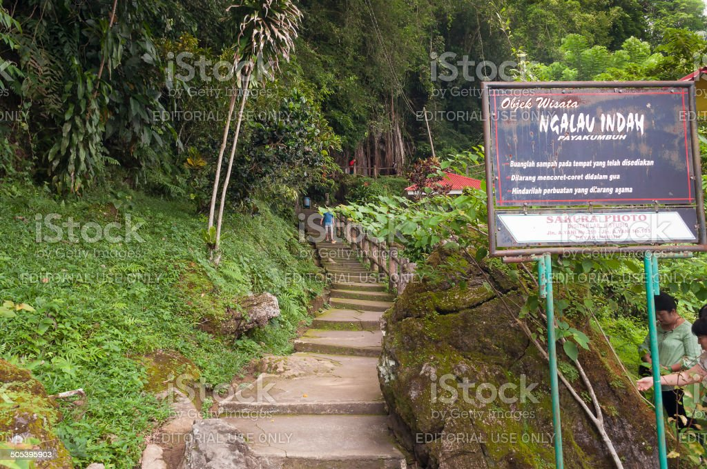 Stairs to Ngalau Indah Caves stock photo