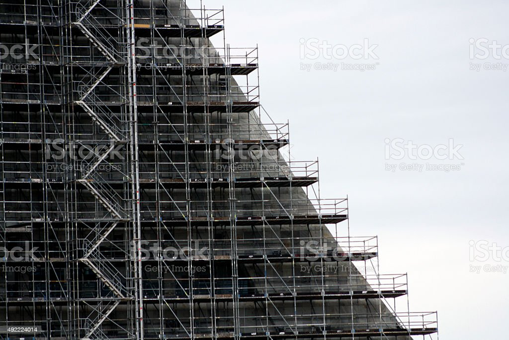 stairs to roof in facade building stock photo