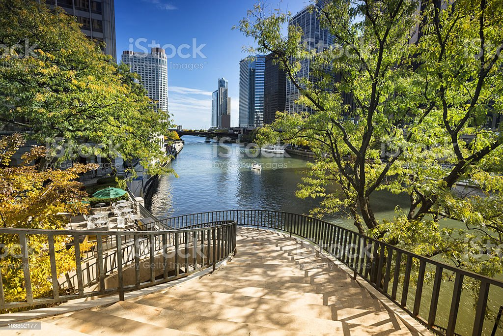 Stairs to the Chicago Riverwalk stock photo