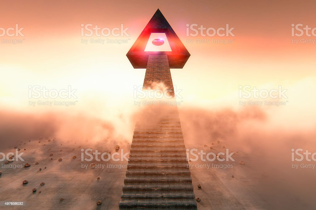 Stairs to the cloud temple stock photo