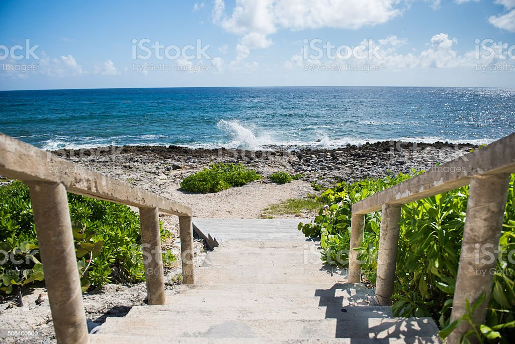 Stairs to the sea. stock photo