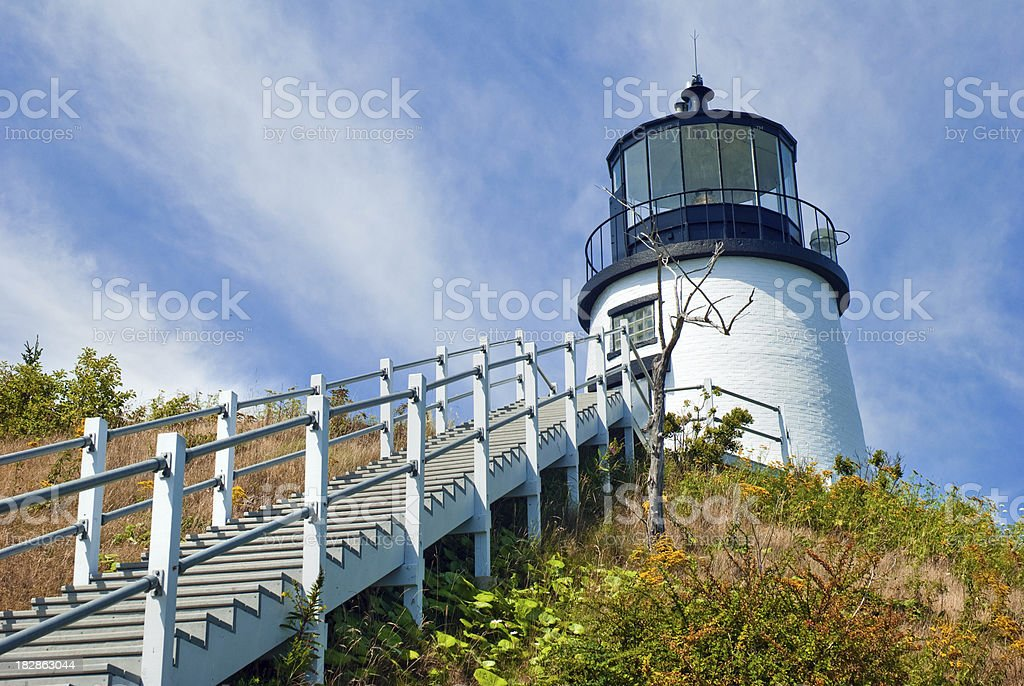 Stairs up to Owl's Head Light in Maine royalty-free stock photo