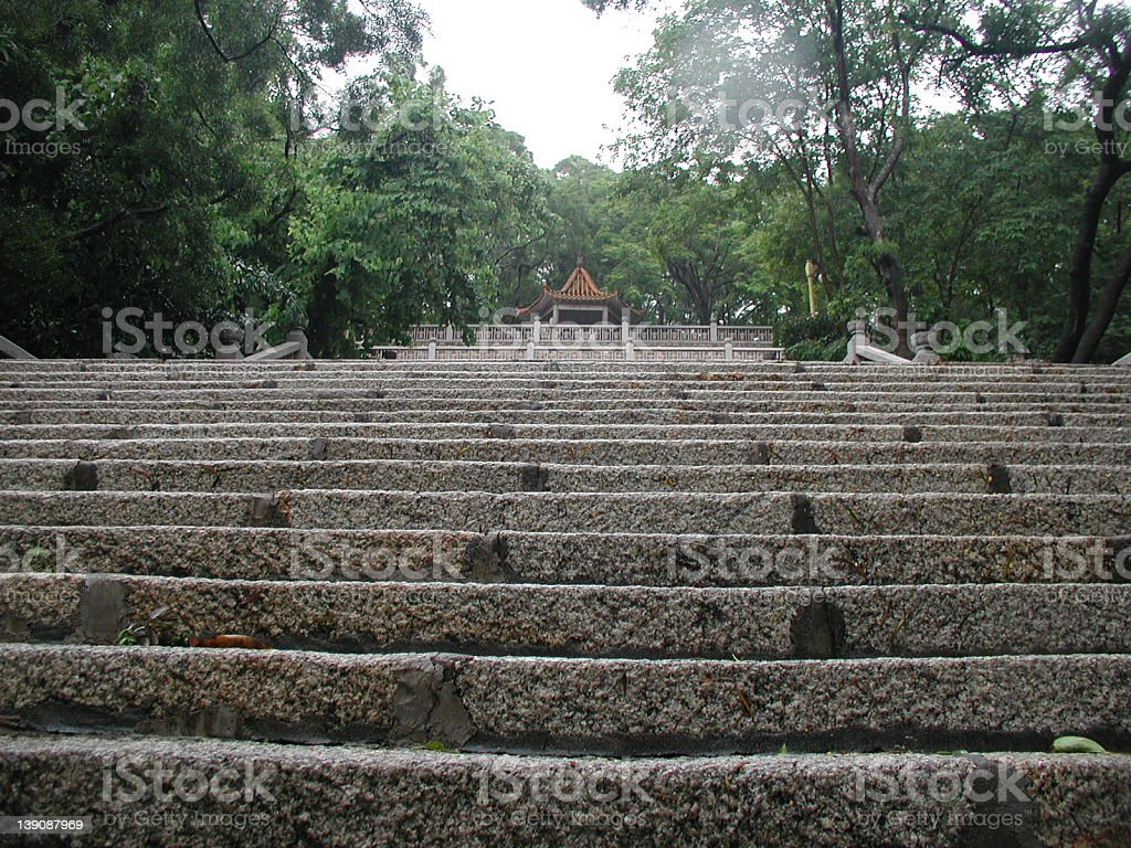 Stairs up to the pagoda stock photo
