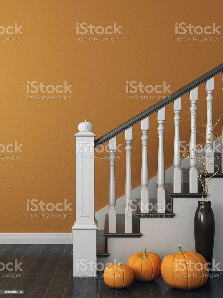 Stairs with a festive decoration stock photo