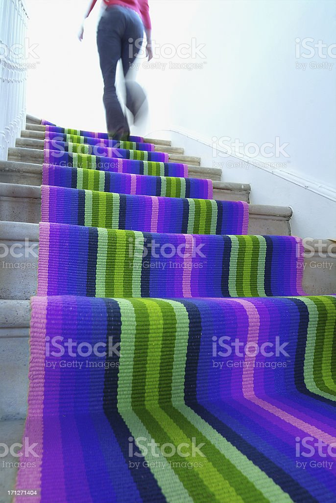 Stairs with carpet runner stock photo