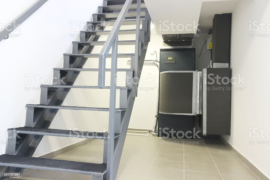 Stairs with Cooling Air conditioning Control System Unit stock photo