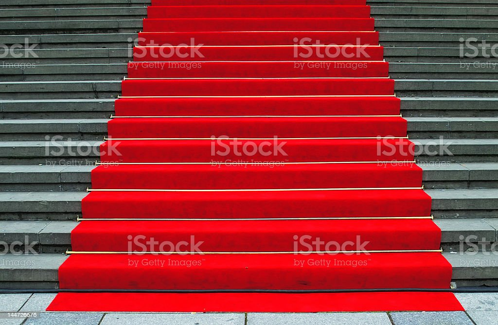 Stairs with red carpet royalty-free stock photo