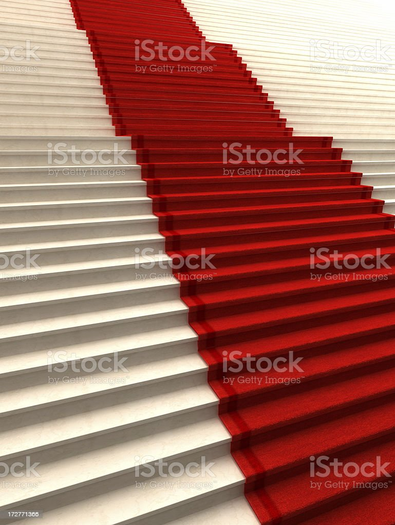 Stairs with red carpet stock photo