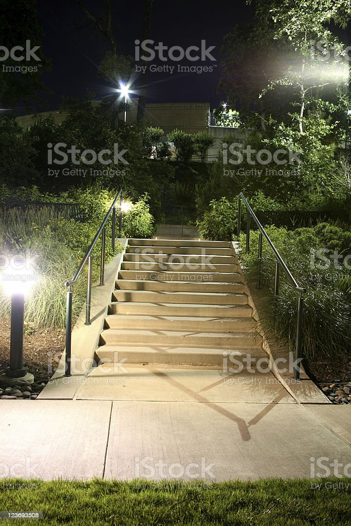 Stairway at night royalty-free stock photo