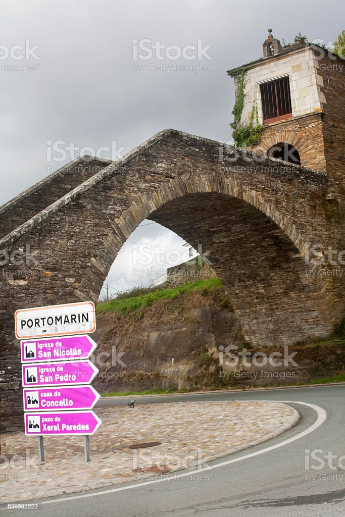 Stairway Entrance to Portomarin village, Lugo, Galicia, Spain. stock photo