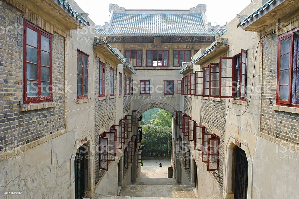 Stairway from the main Library at Wuhan University stock photo