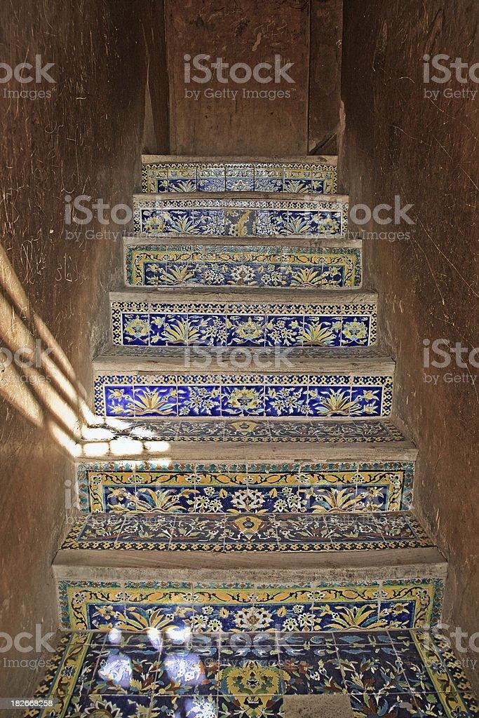 Stairway in Ali Qapu Palace, Esfahan, Iran royalty-free stock photo