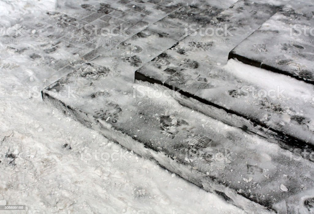 Stairway in snow. stock photo