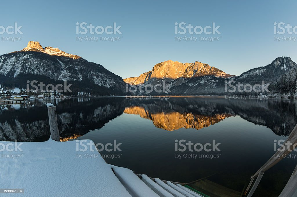 Stairway into Lake Altaussee in winter, Austria stock photo