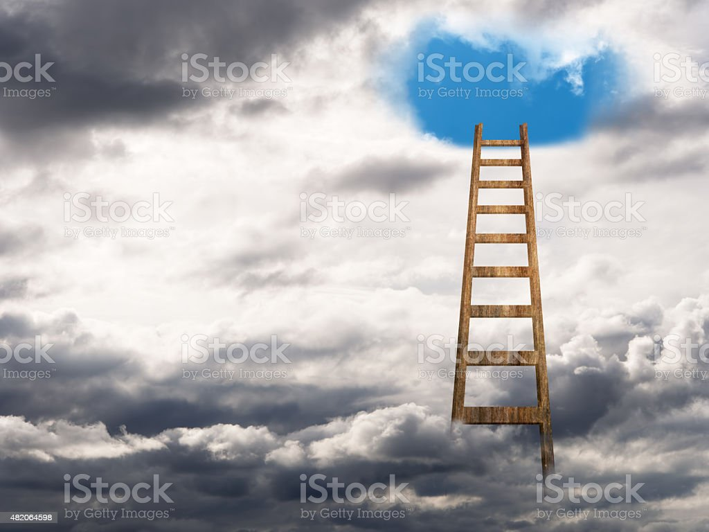 Stairway ladder to heaven. Psychology concept etc. stock photo
