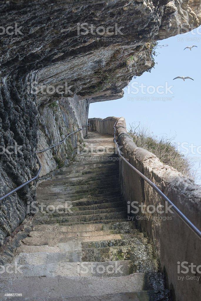 Stairway of the King Aragon - Bonifacio, Corsica France stock photo