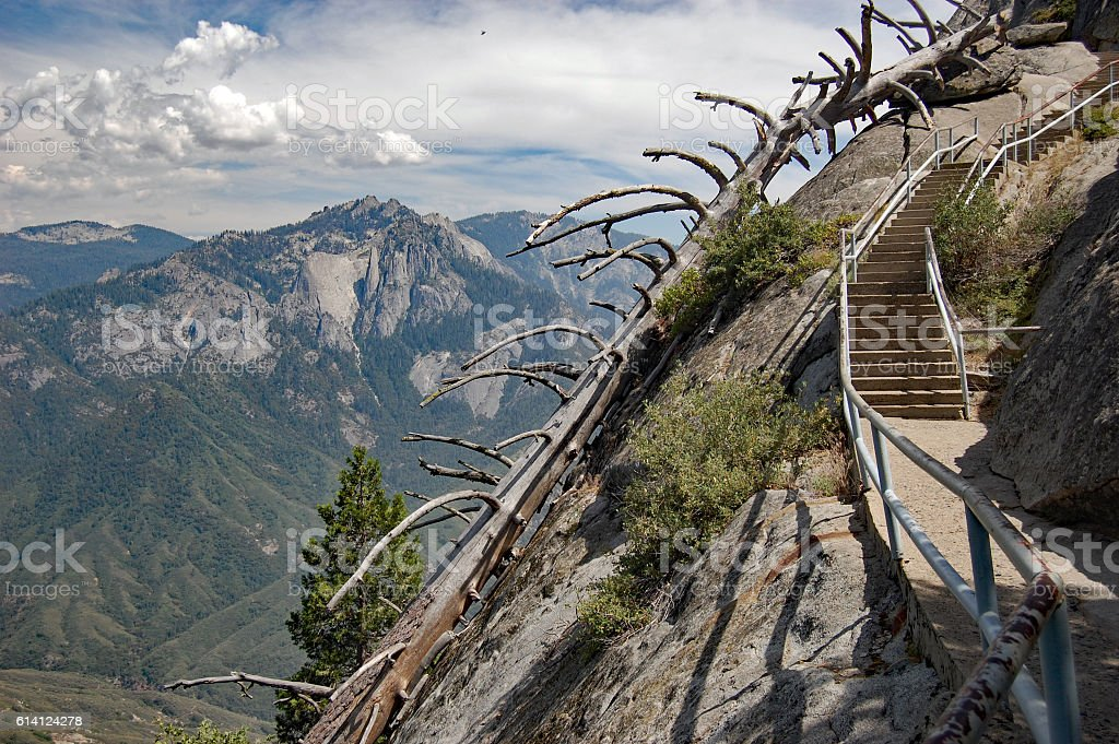 Stairway on the Moro rock trail,Sequoia National Park stock photo