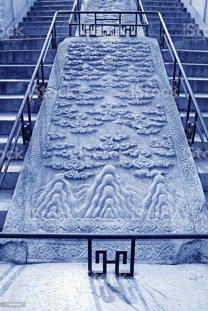 stairway stone carvings royalty-free stock photo