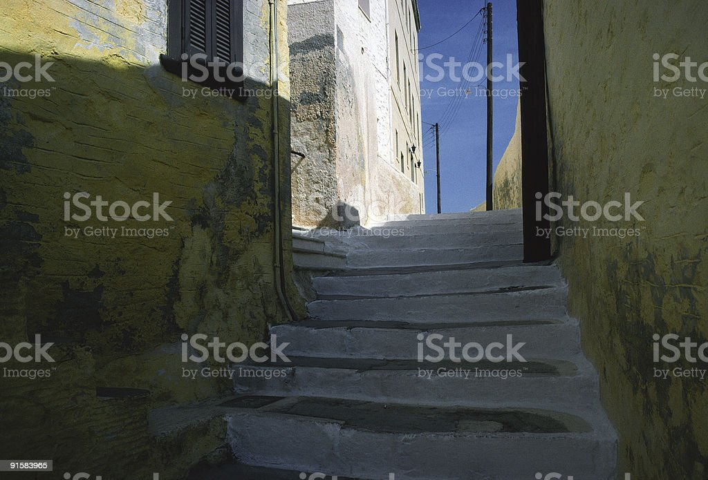 Stairway, Syros, Greece stock photo