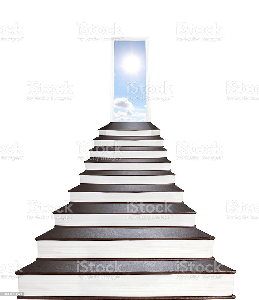 Stairway to all mankind's knowledges made of books stock photo