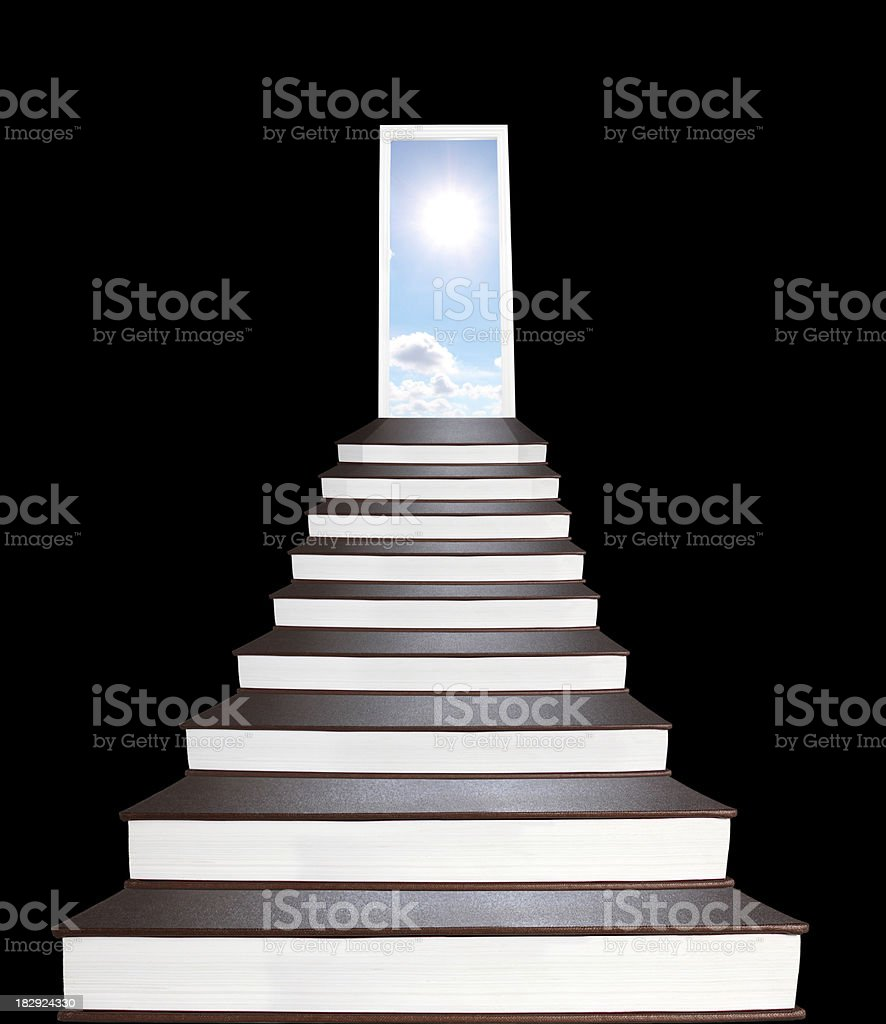 Stairway to all mankind's knowledges made of books royalty-free stock photo
