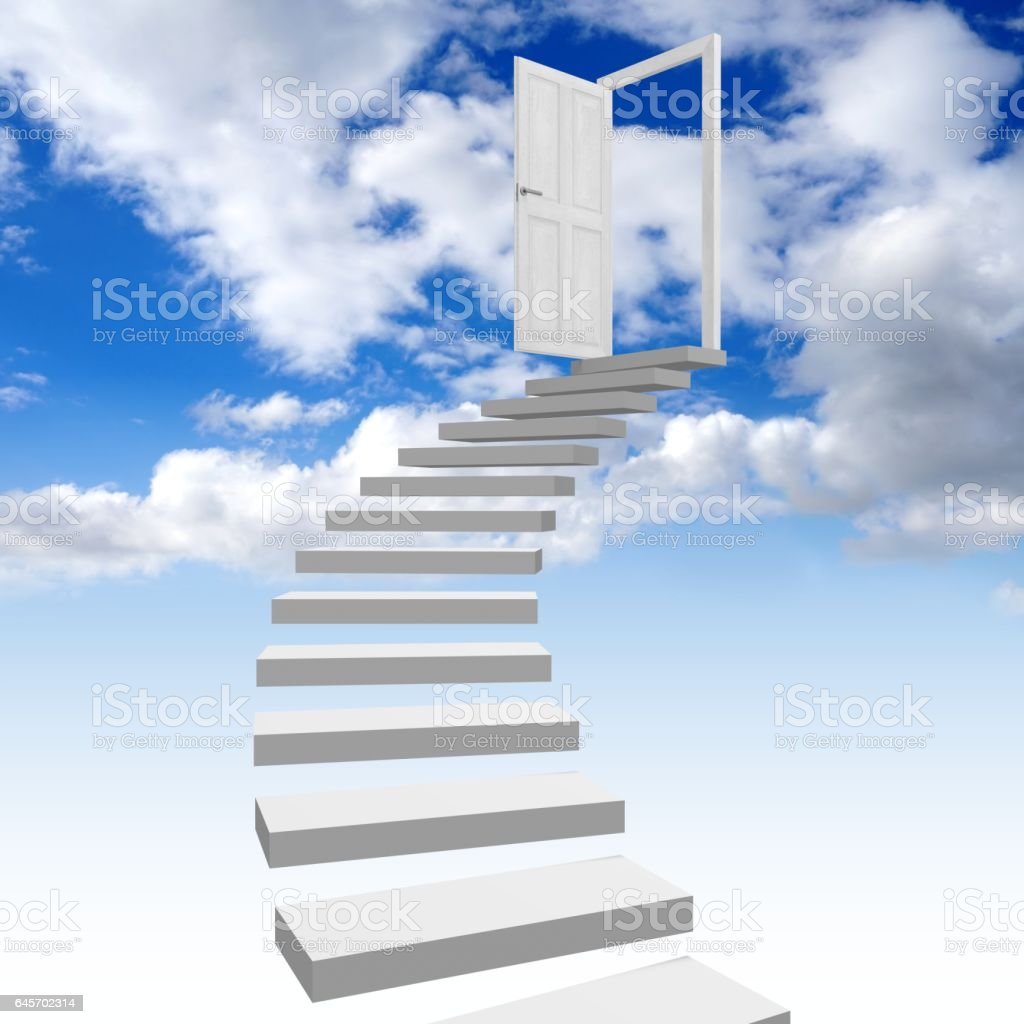 3D stairway to heaven concept stock photo