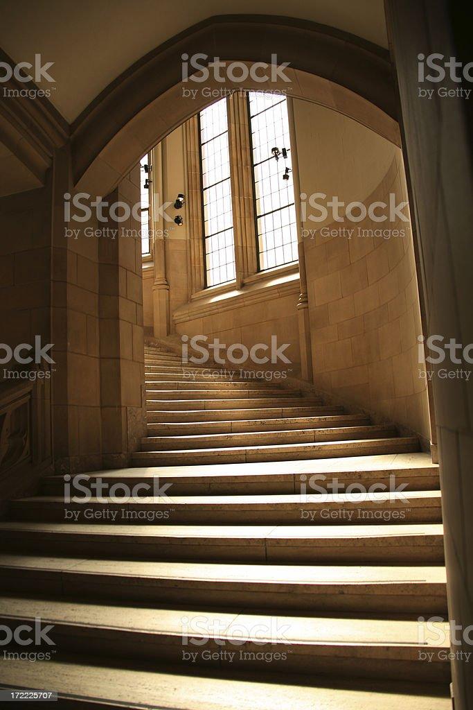 Stairway to Heaven?  No.  Upstairs. stock photo