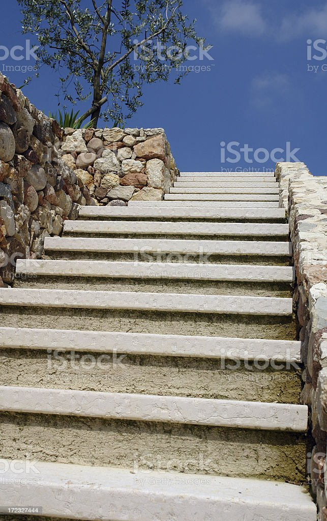 Stairway to Heaven...white marble steps up towards terse sky stock photo