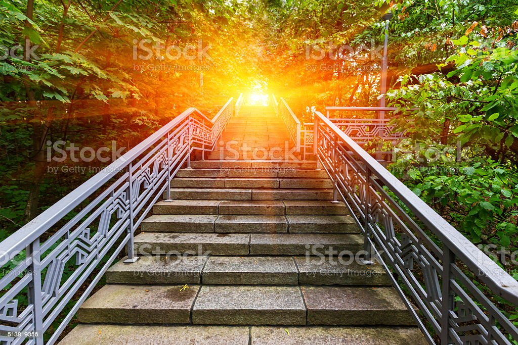 stairway to sunset stock photo