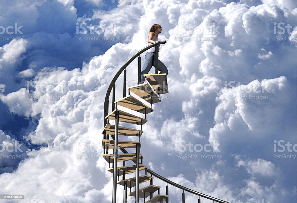 stairway to the clouds stock photo