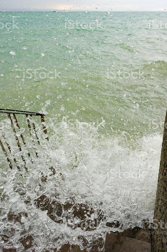 Stairway to the sea / lake stock photo