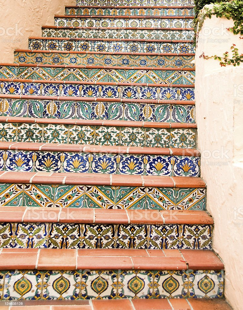 Stairway with Mexican, Talavera Tiles stock photo