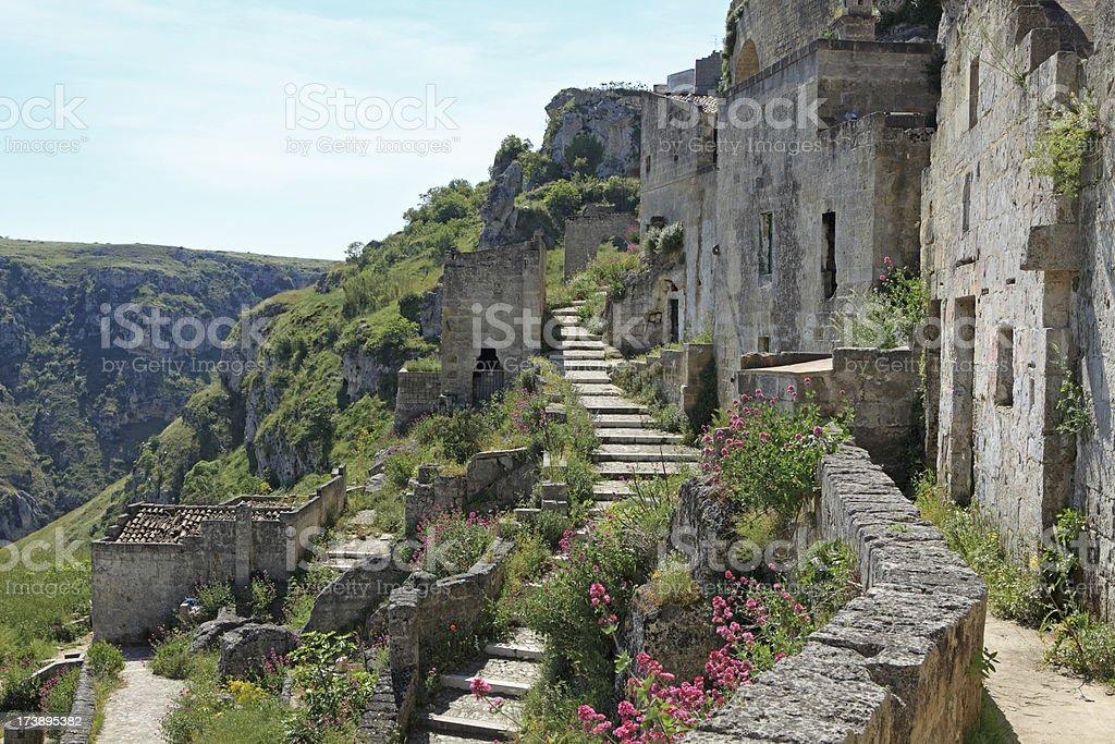 Stairways in Matera Sassi Caveoso, Basilicata Italy royalty-free stock photo