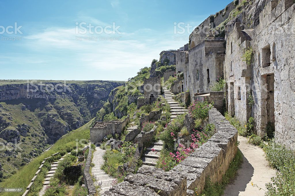 Stairways in Matera Sassi Caveoso,Cave houses Basilicata Italy stock photo
