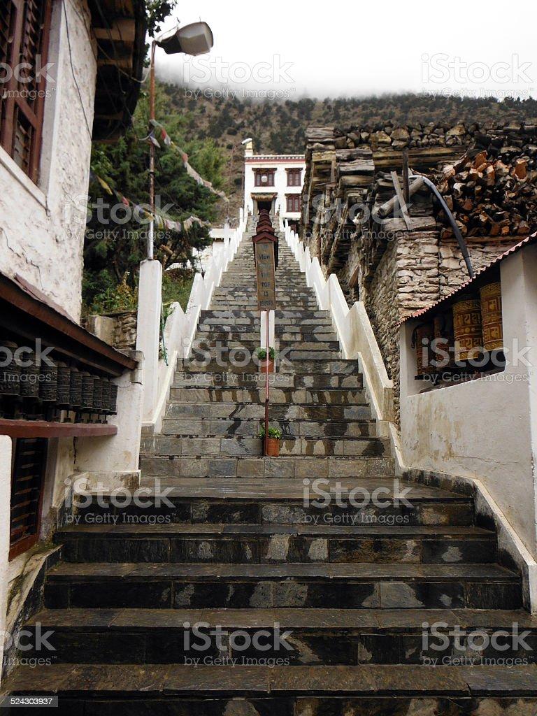 Stairways to a Buddhistic Himalayan Monastary in Monsoon stock photo