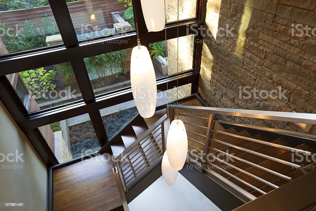 Stairwell and Modern Lights royalty-free stock photo