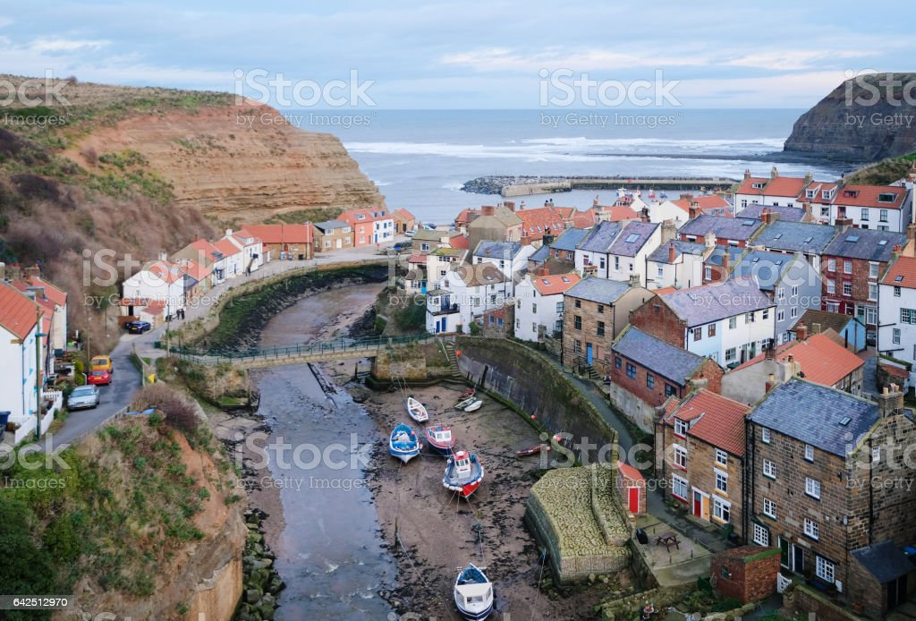 Staithes Fishing Village as seen from Above stock photo