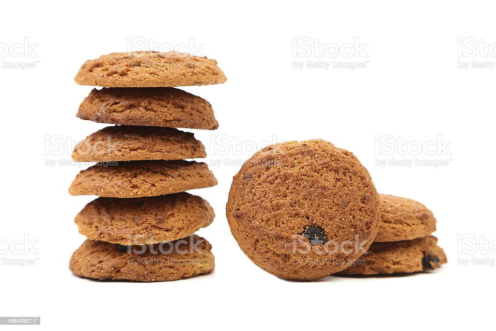 Stake oatmeal cookies with raisins royalty-free stock photo