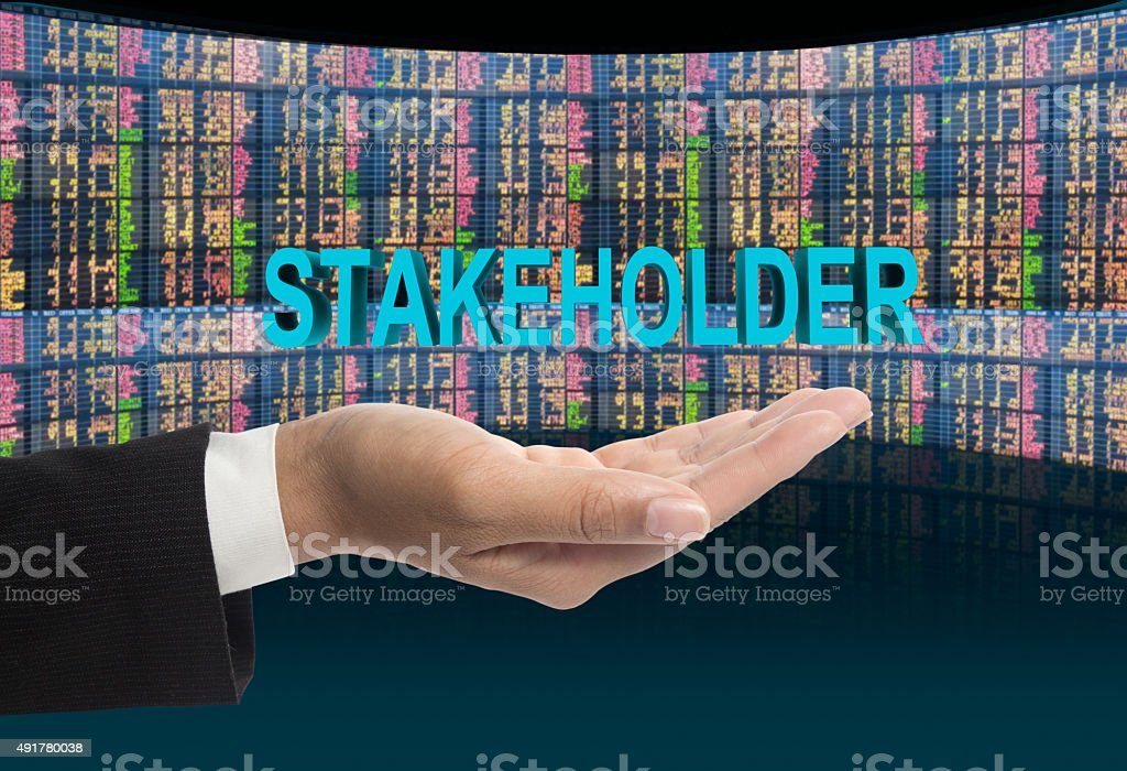 Stakeholder text. stock photo