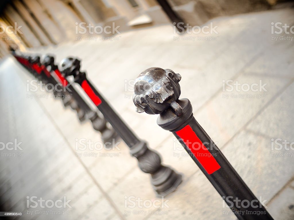 stakes delimiters pedestrian zone stock photo
